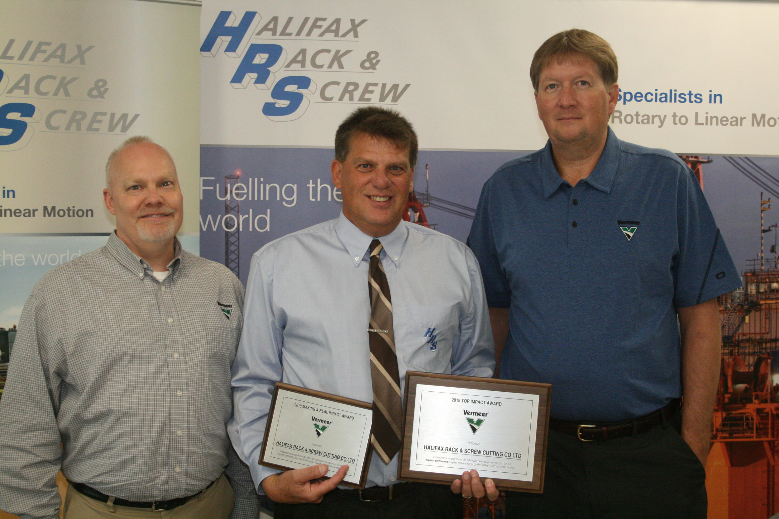 Rich Easley (Middle) HRS North American Business and Sales Manager, Jeremy Vande Noord (Left) Vermeer, Scott Bishop (Right) Vermeer.