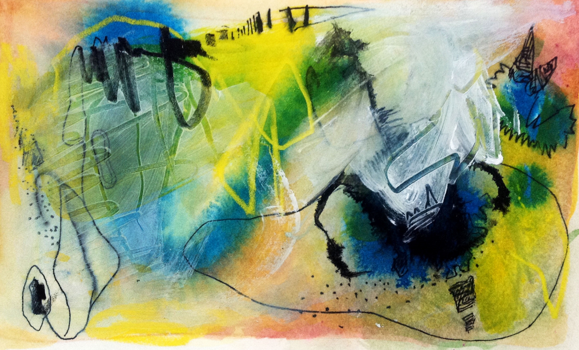 Acrylic and ink on paper 14WOP Orginial is NFS Giclee print only, any size
