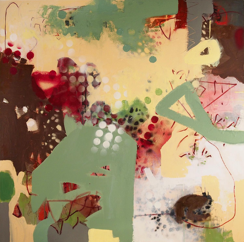 "Honey Run graffiti Acrylic on wood panel 15LWP101 36"" x 36"" x 1 1/2"""