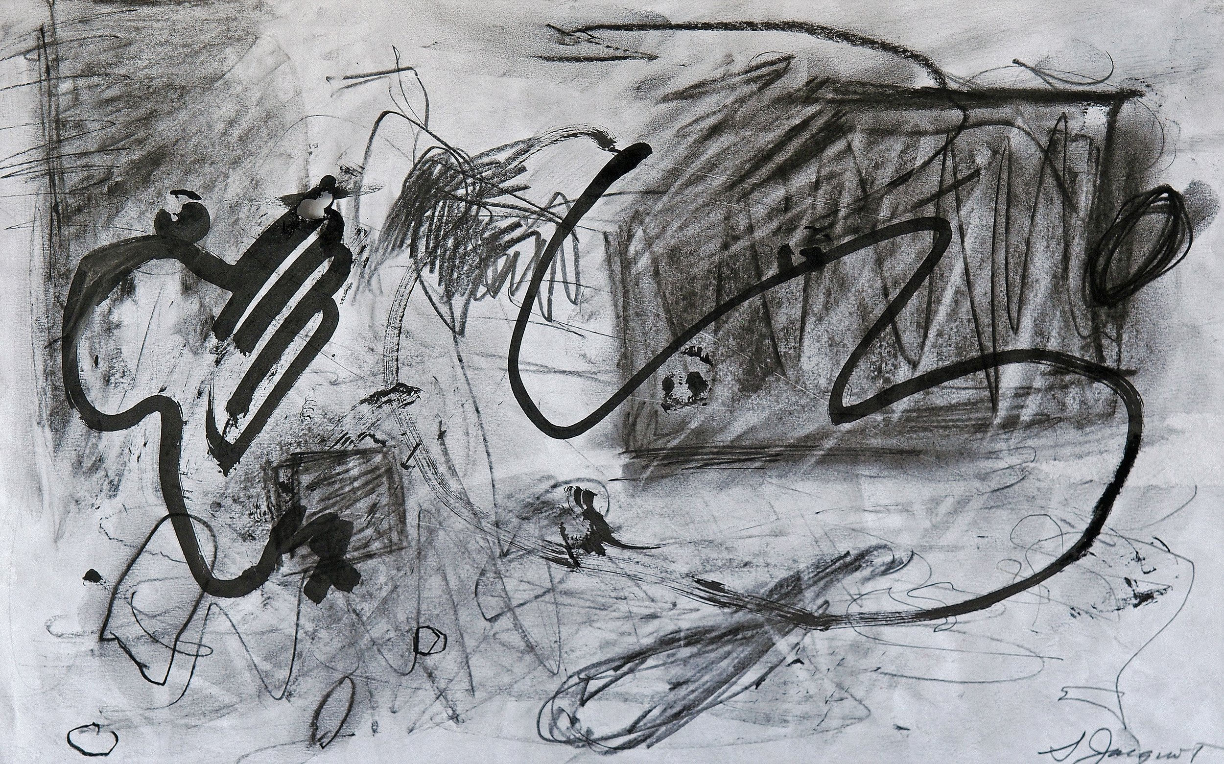 """Charcoal, ink and graphite on paper 16WOP 9"""" x 12"""" unframed Not for Sale"""
