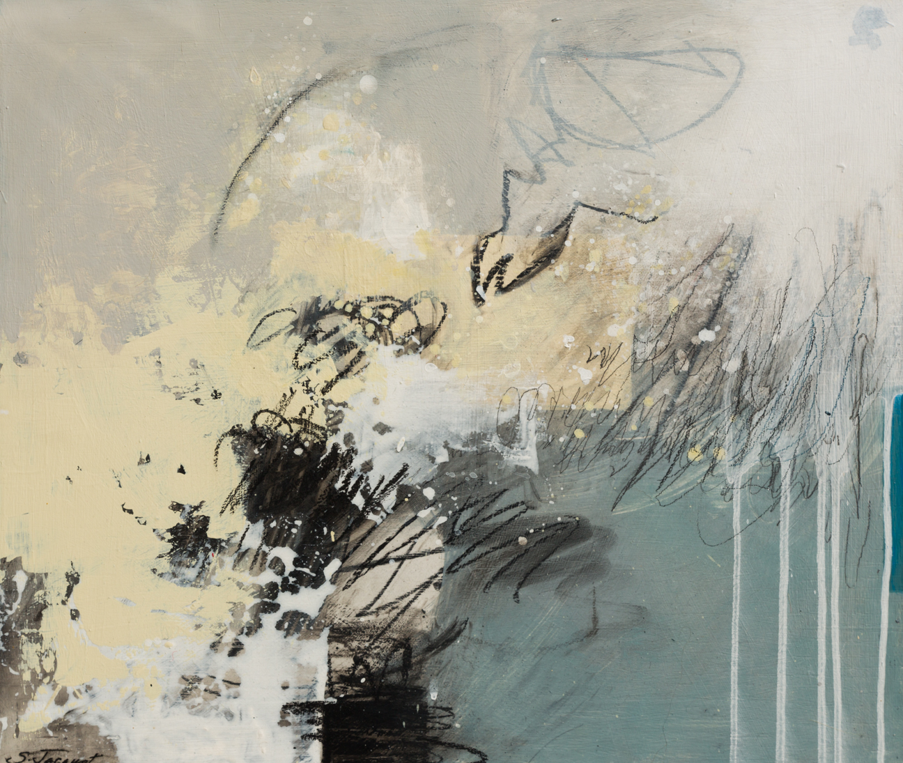 "Comes and goes Acrylic, graphite, charcoal on wood panel 17LWP104 20"" x 24"""