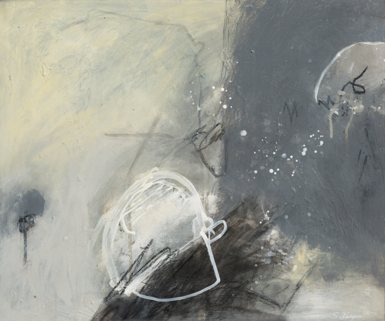 "Silly moon Acrylic, graphite, charcoal on wood panel 17LWP107 20"" x 24"""