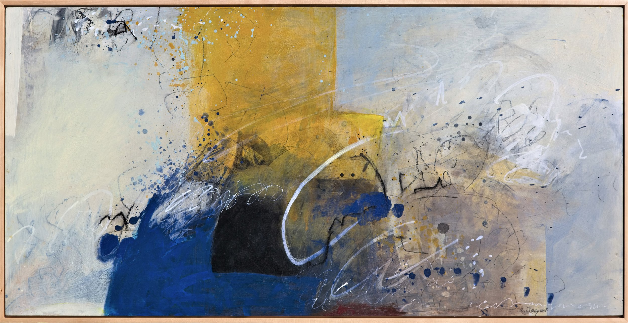 """Winds of fortune blew through Acrylic, graphite, charcoal on wood panel 17LWP101 24"""" x 48"""""""