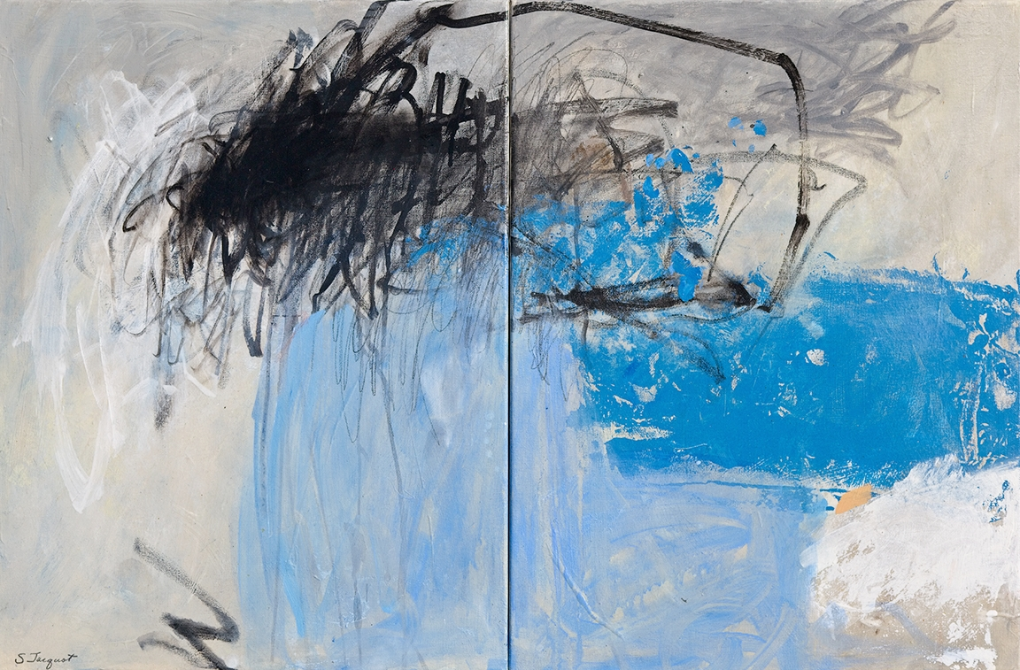 """48"""" x 20"""" diptych Acrylic and graphite on canvas"""