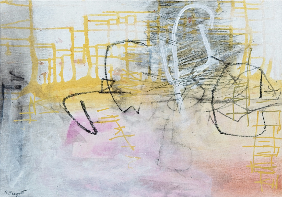 "Hub bub  24"" x 20"" Acrylic and graphite on canvas"
