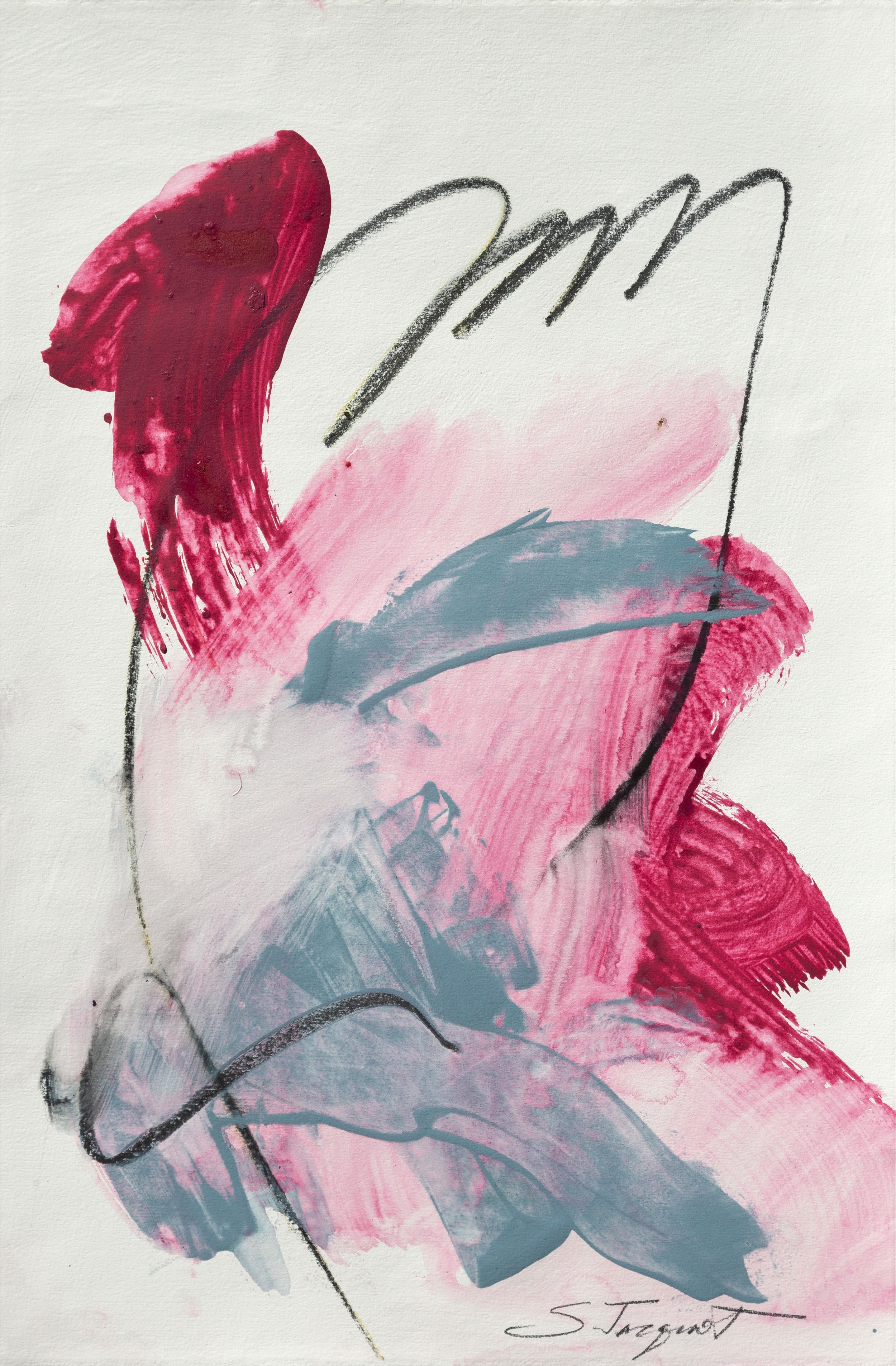 """Conversations 12 22"""" x 15"""" Acrylic and graphite on paper 2018"""