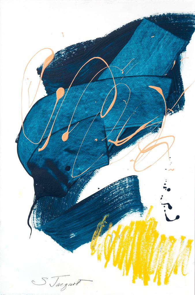 "Conversations 4 22"" x 15"" Acrylic on paper 2018"