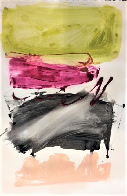 """Stacked 4 22"""" x 15"""" Acrylic on paper 2018"""