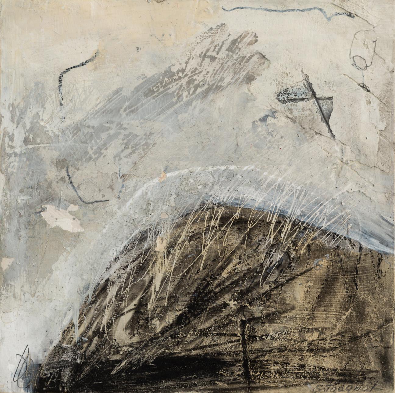 """Haiku 4, acrylic, graphite on wood, basswood frame, 12"""" x 12"""""""