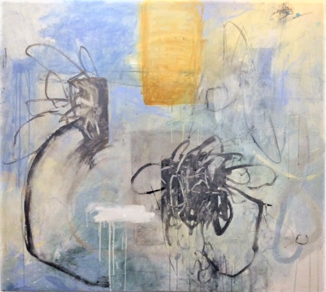 """It is all around us 60"""" x 54"""" Acrylic, graphite, charcoal on canvas 2018"""