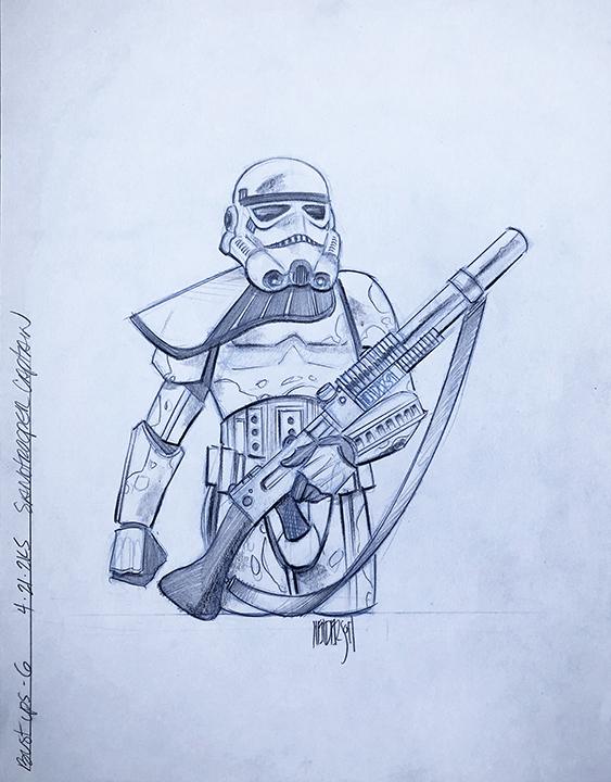 Design sheet for a Sandtrooper bust