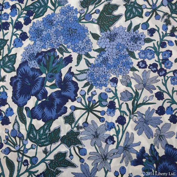 Liberty,  Edna  on Tana Lawn Cotton  Featuring lily of the valley, wallflower, stitchwort, candytuft and ivy. Respectively, these flowers symbolise sweetness and humility, love, everlasting beauty, indifference, immortality and fidelity
