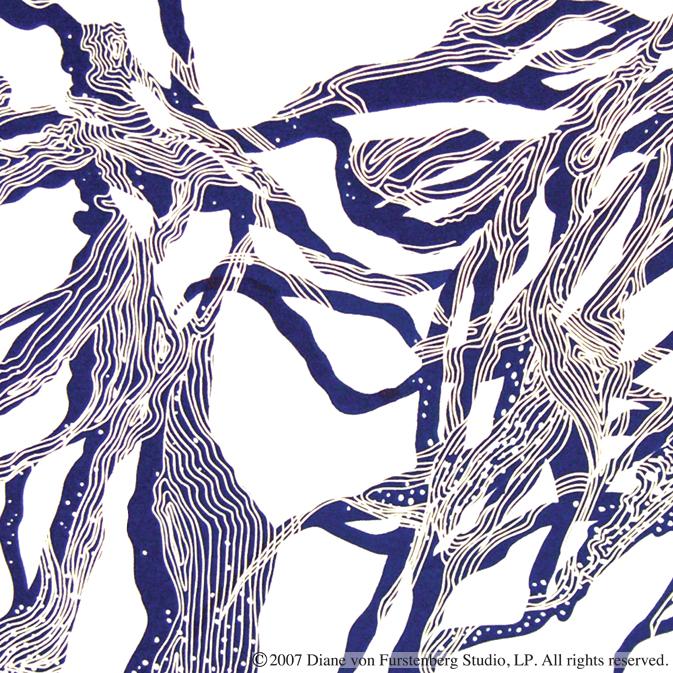 Diane von Furstenberg,  Blue Creature   Screen Print on Cotton