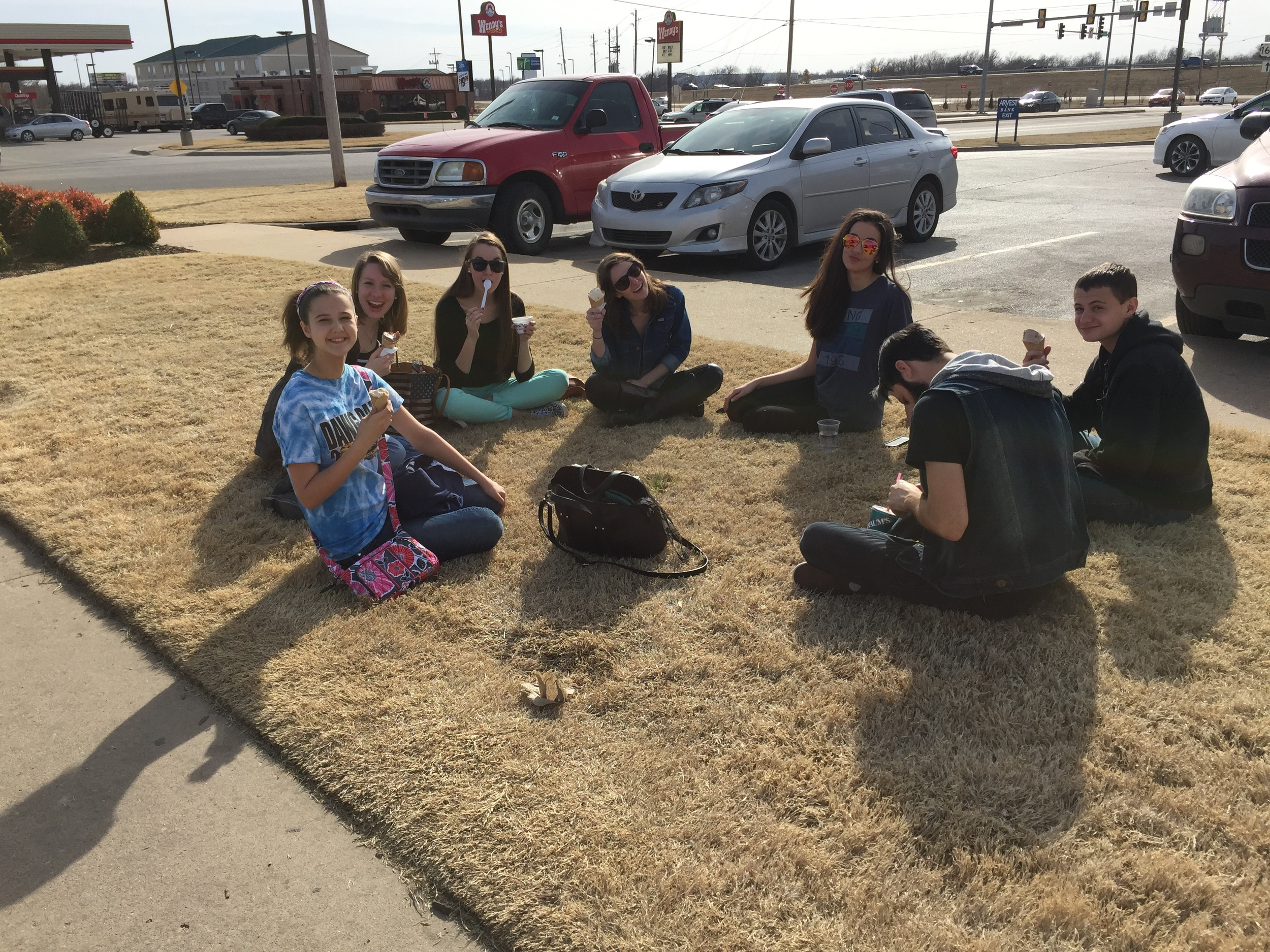Our team from today eating ice cream outside!