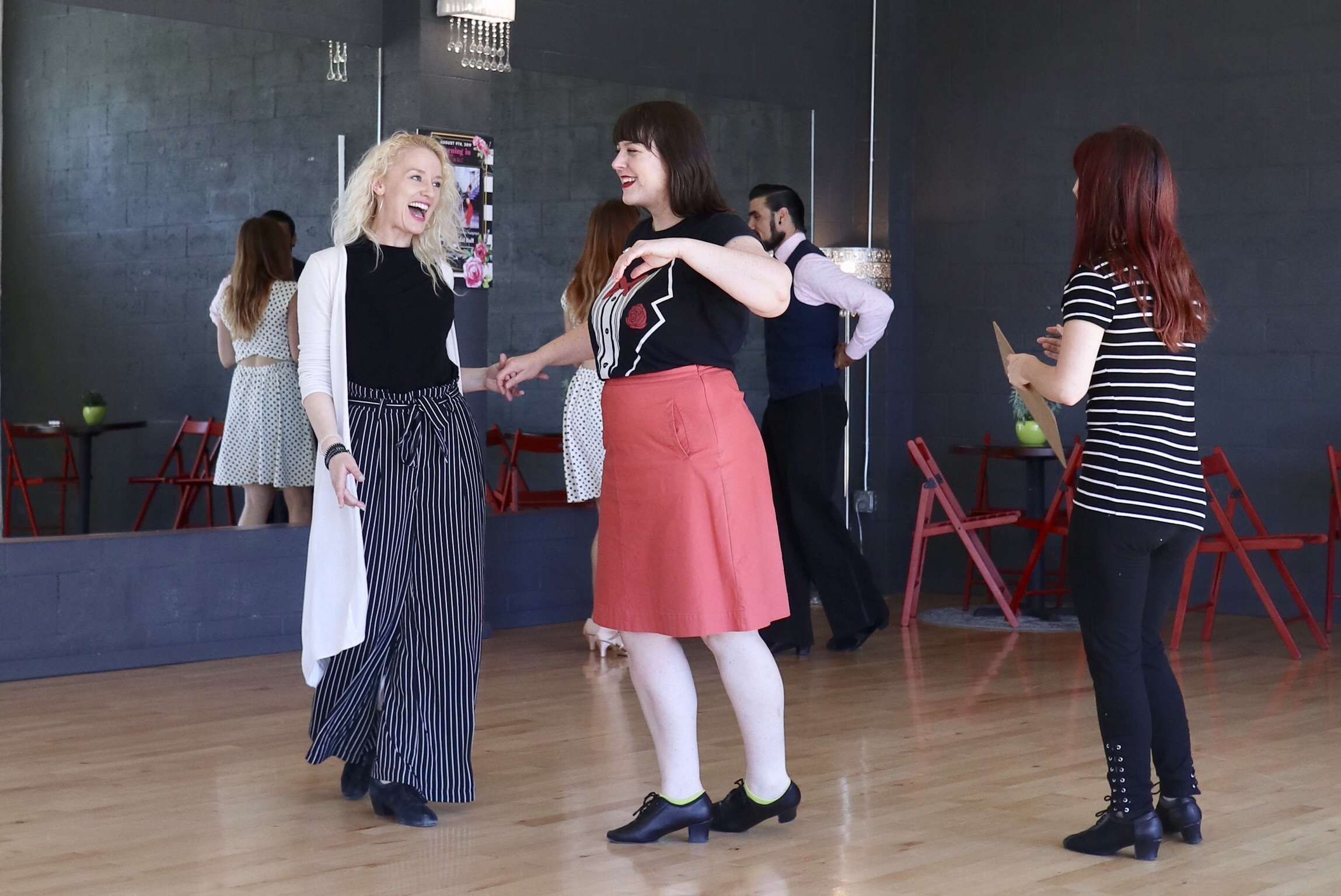 Dani Atkins (Pro. Dance Competitor & Coach) Emily Evans (Dance Instructor) & Allison Fox (Student)