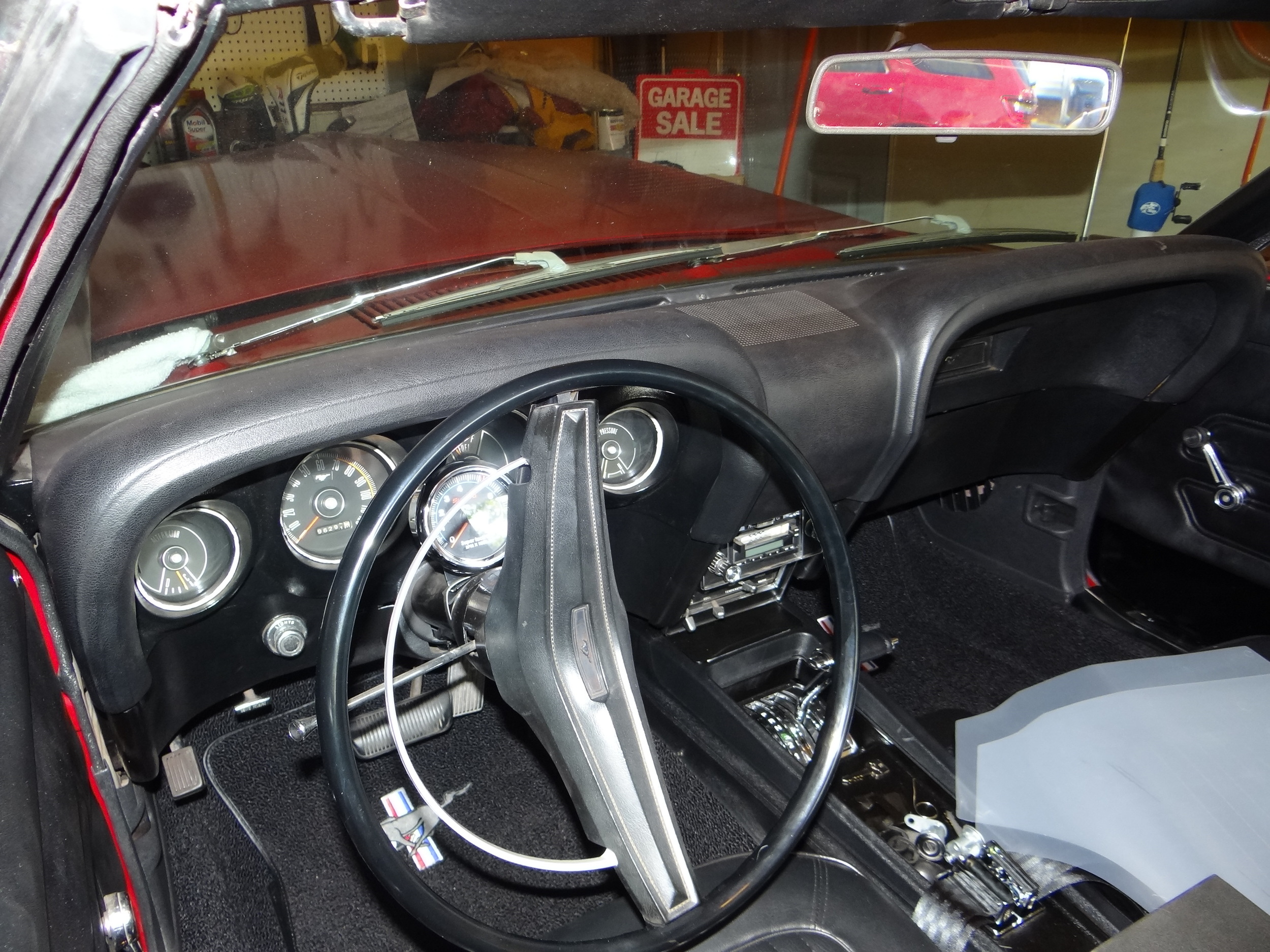 The '69 Mustang's dashboard