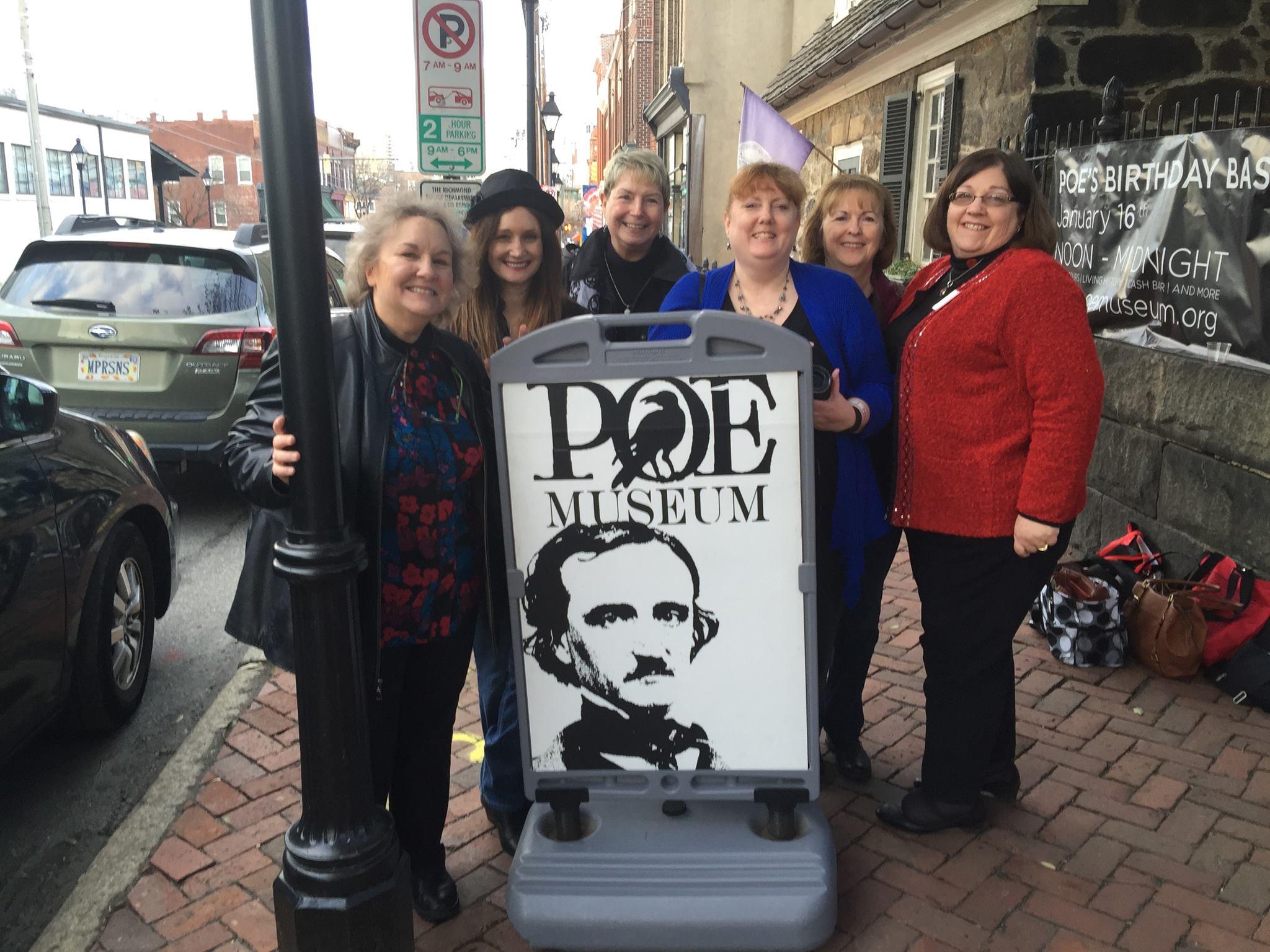 Rosie Shomaker, Teresa Inge, Vivian Lawry, Me, Maggie King, and Yvonne Saxon at the Poe Museum in Richmond, VA