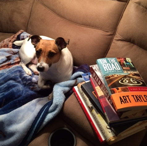 Disney Dog and One of My TBR Piles
