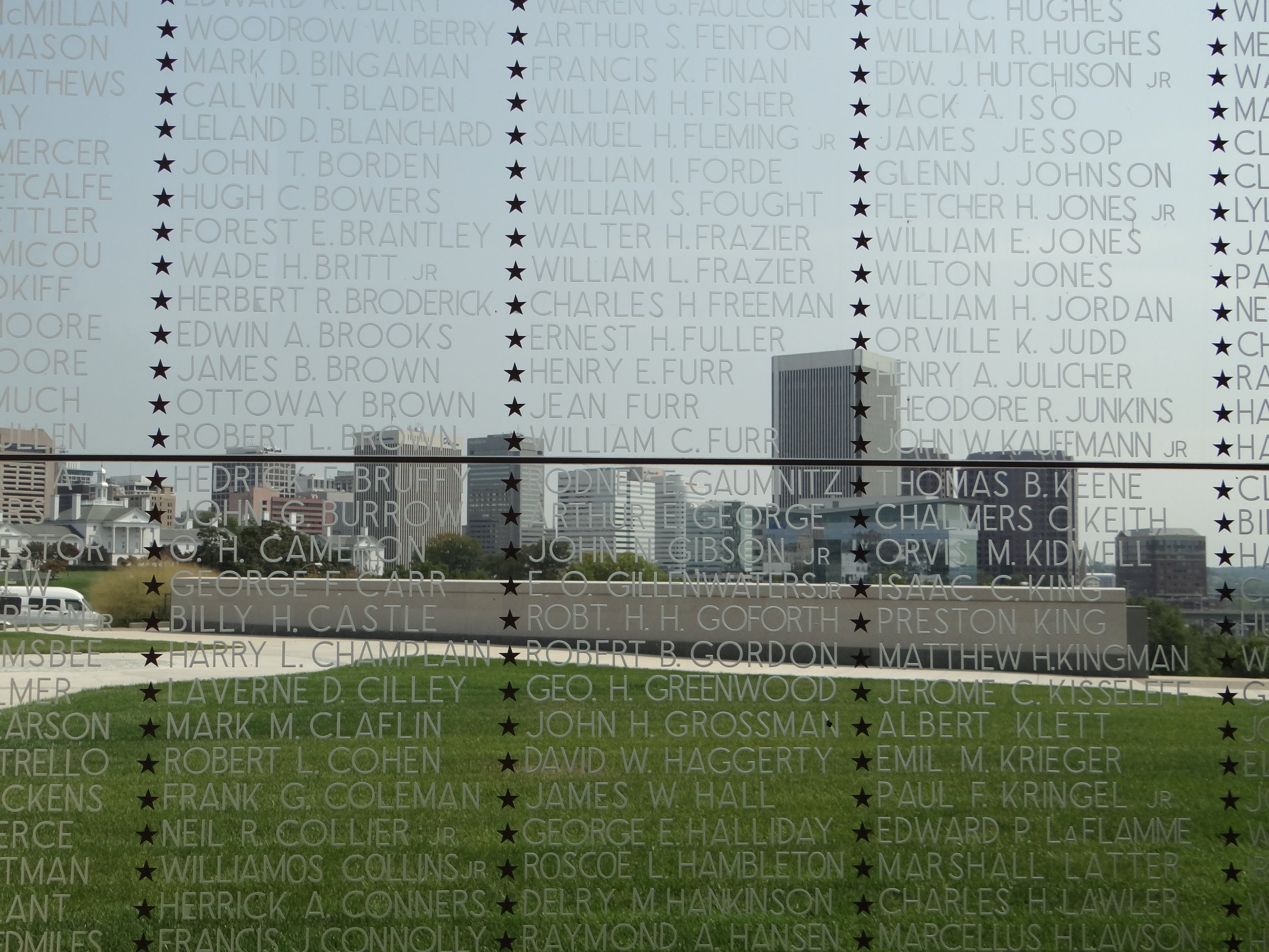 This is a view of downtown Richmond through the Virginia War Memorial.