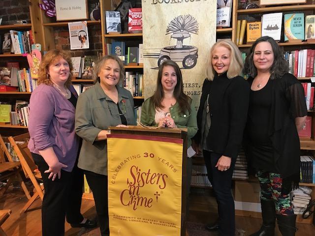 L-R: Heather Weidner, Rosemary Shomaker, Jenny Milchman, Mary Burton, Kelly Justice