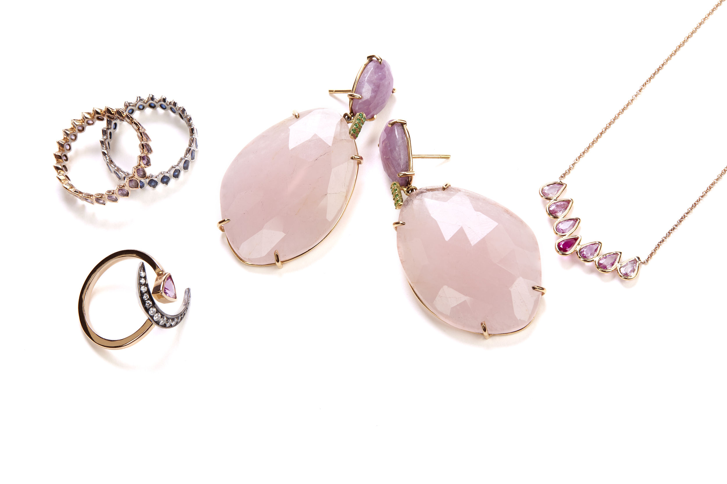 Pink and emerald earrings, marquise rings, crescent ring, pink pear necklace.jpg