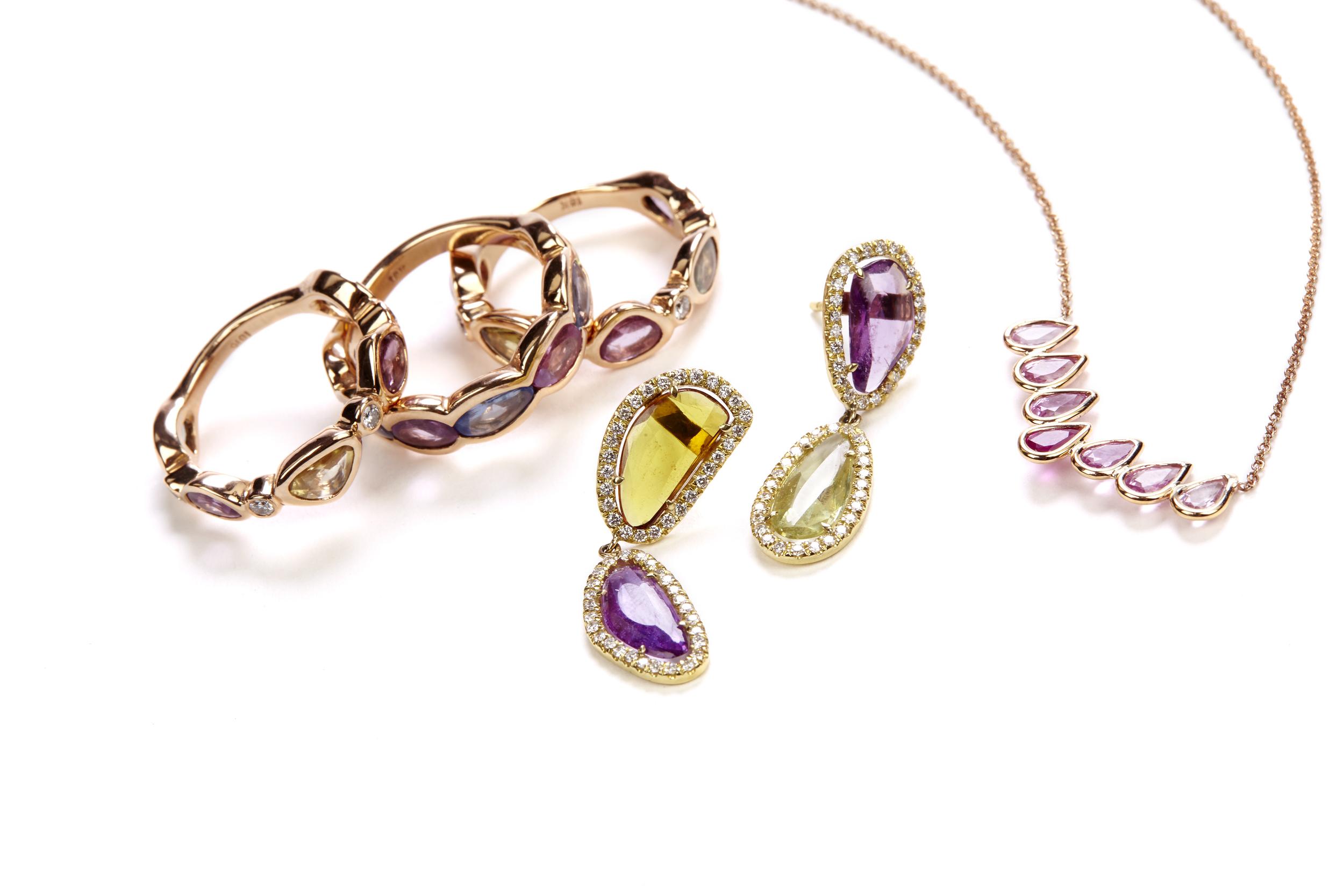 Rose Cut Ring, Rose cut earrings, Pink Pear Necklace.jpg