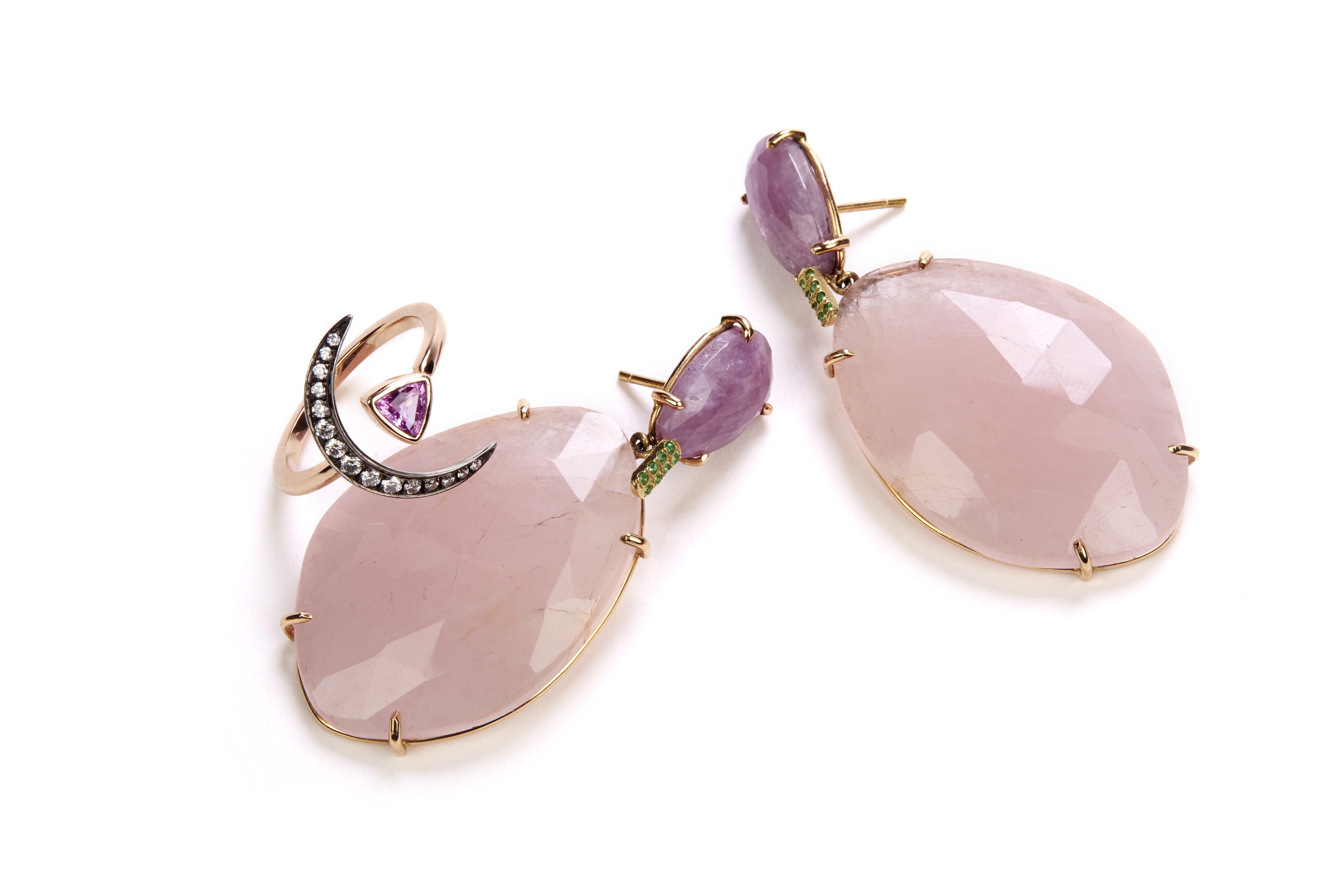 Crescent Ring with Pink and Emerald Earrings.jpg