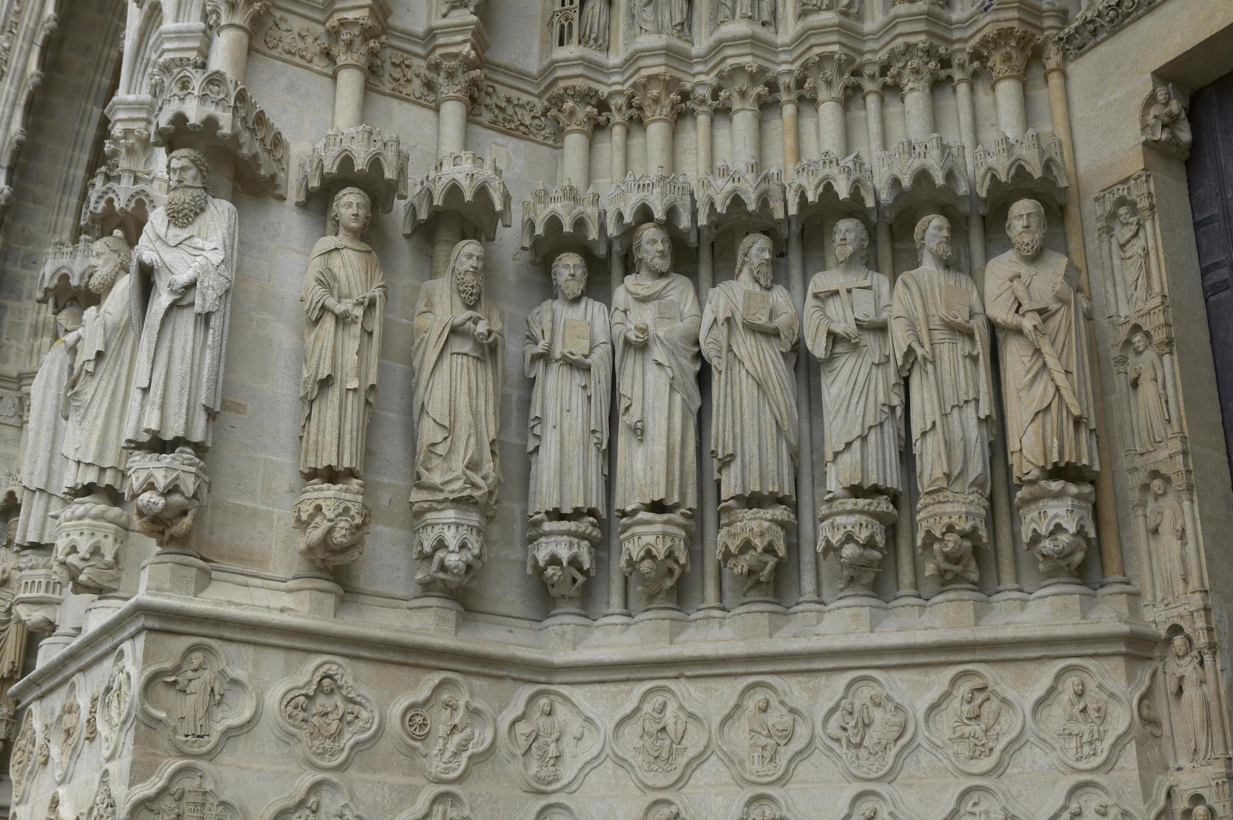 Jamb Figures: Apostles Paul, James the Lesser, Thomas, Matthew, Phillip, Simon (or Judas)