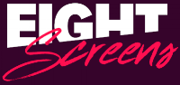 Eight Screens Full Logo STACKED Raspberry background White-Hot Pink.png