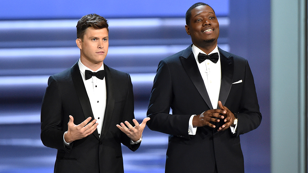 The 70th Primetime Emmy Awards hosts,  Saturday Night Live 's Colin Jost and Michael Che, performed their duties adequately in the eyes of at least one viewer (me).    Michael Buckner / Variety