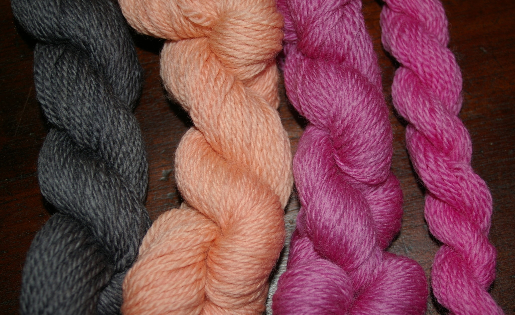 1.Dark Violet gray with Iron, 2. Flesh pink with alum, 3-4. soft rosy pinks alum with soda ash.