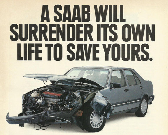 Figure 1  Advertisement from the Saab USA, 1990
