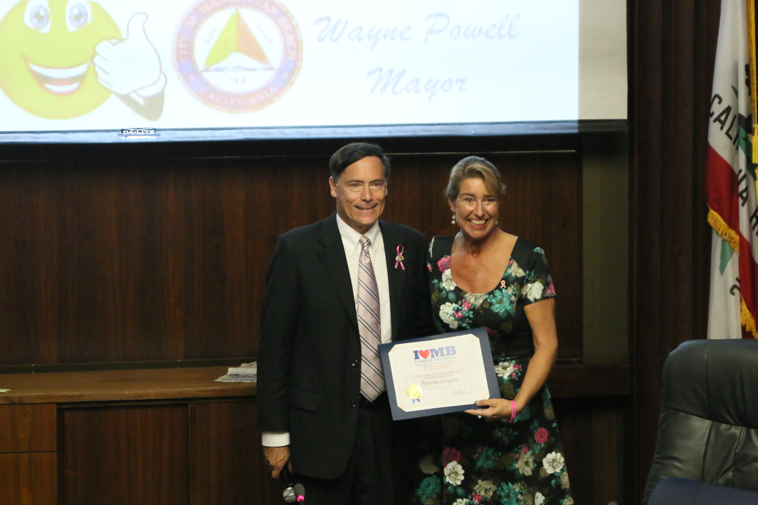 Manhattan Beach Mayor Wayne Powell presents Certificate of Commendation to Adrienne Slaughter, October 2014, at Manhattan Beach City Council.
