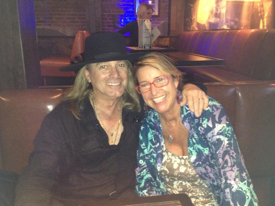 Reunited with Cheap Trick's Robin Zander who met Adrienne when KANSAS'Phil Ehart flew Adrienne cross country to represent Youth Against Cancer at Unicure Music Tennis Festival benefiting Butch Walts' Cancer Research, now a Urological Cancer Research Foundation.