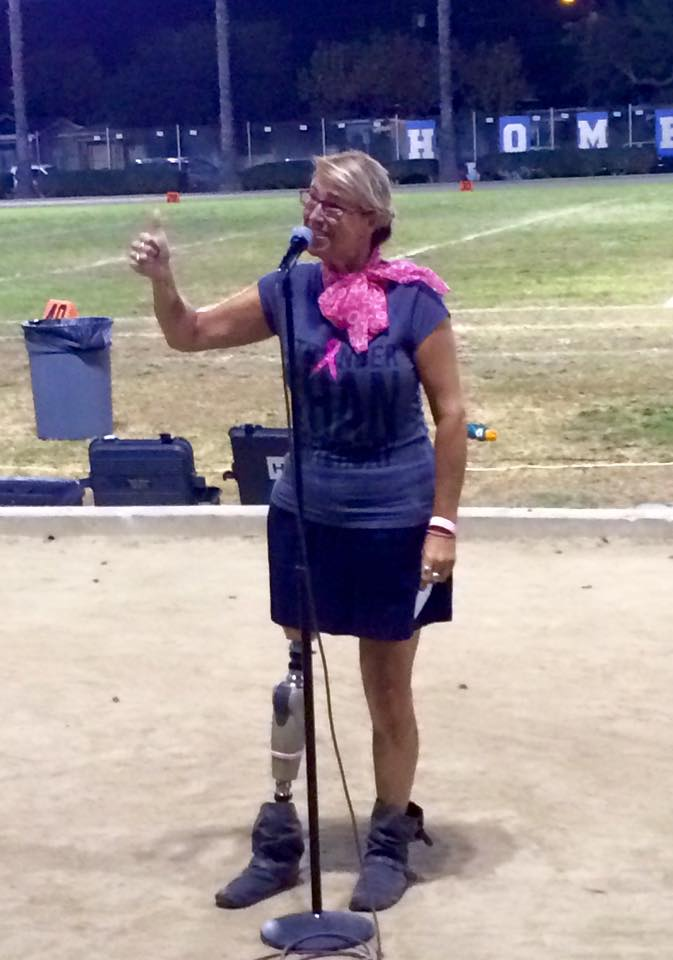 Breast Cancer Survivor Keynote at Half-time Breast Cancer Awareness Month Ceremony at Millikan High School Football Game, Long Beach, CA, on October 2, 2015.