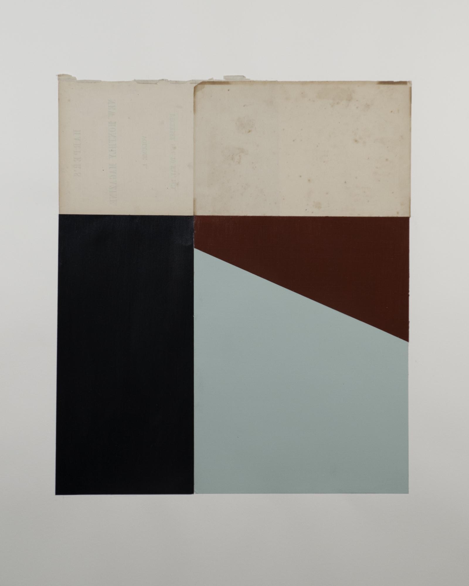 """1502  House paint, acrylic paint, vintage paper  15"""" x 17.5"""""""