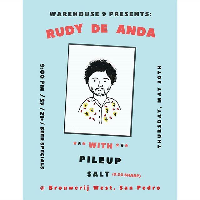 TOMORROW NIGHT - RUDY DE ANDA + PILE UP AT @brouwerijwest 🔥🔥🔥🔥🔥🔥🔥🔥🔥🔥🔥