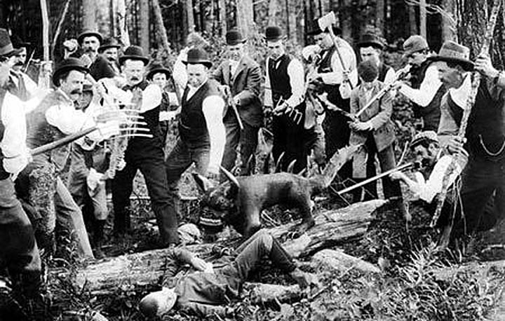 The original Hodag capture of 1899. Eugene Shepard is on the far right, holding a stick. His son Layton Shepard is the seven-year-old on the ground. He'll be back later.