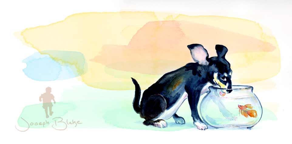 Watercolor Pet portrait by Joseph Blake