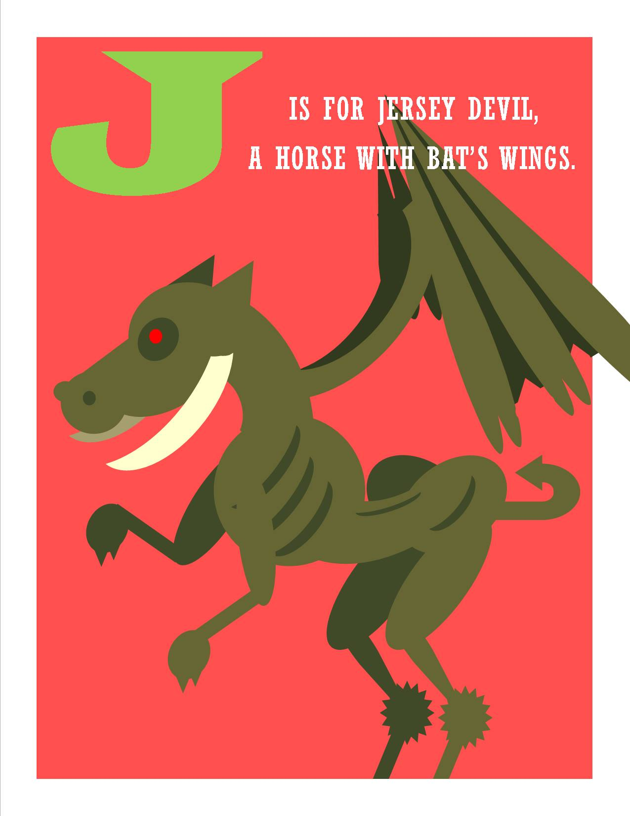 J is for Jersey Devil, a Horse with Bat's Wings