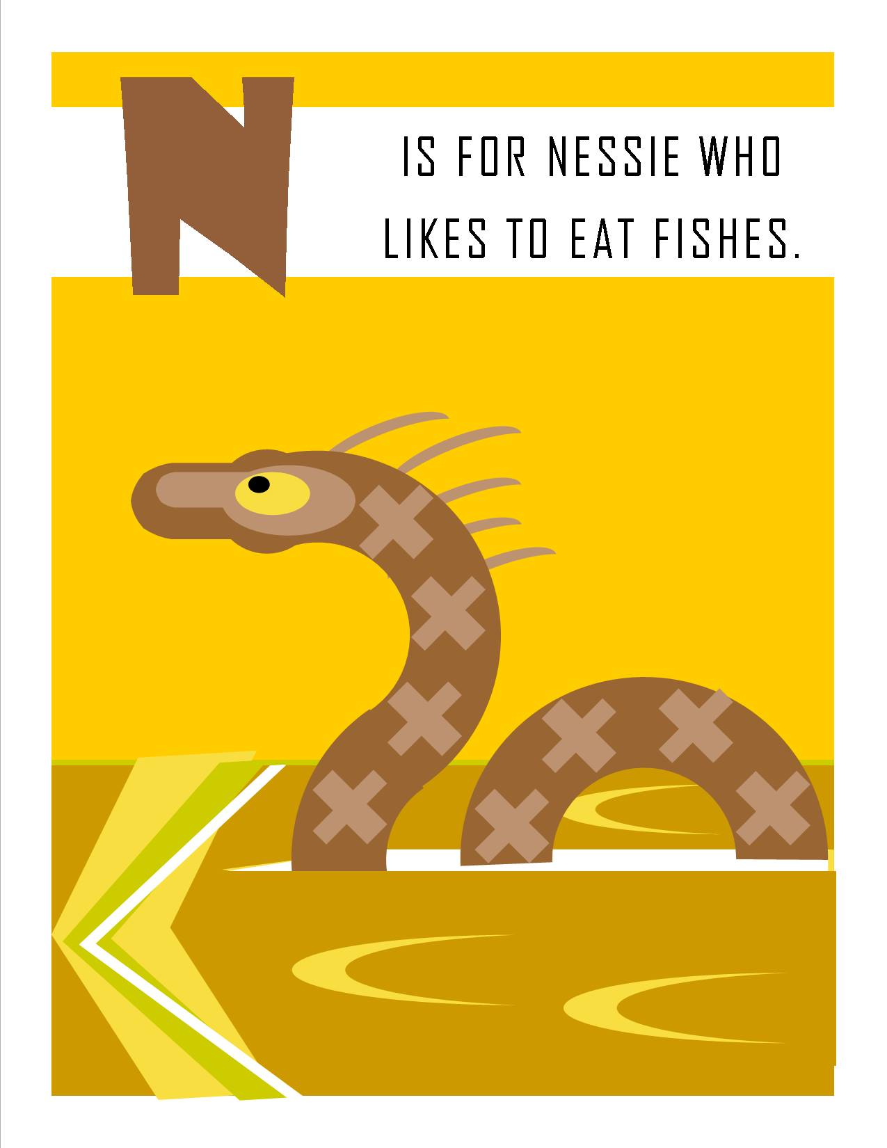 N is for Nessie who Likes to Eat Fishes.