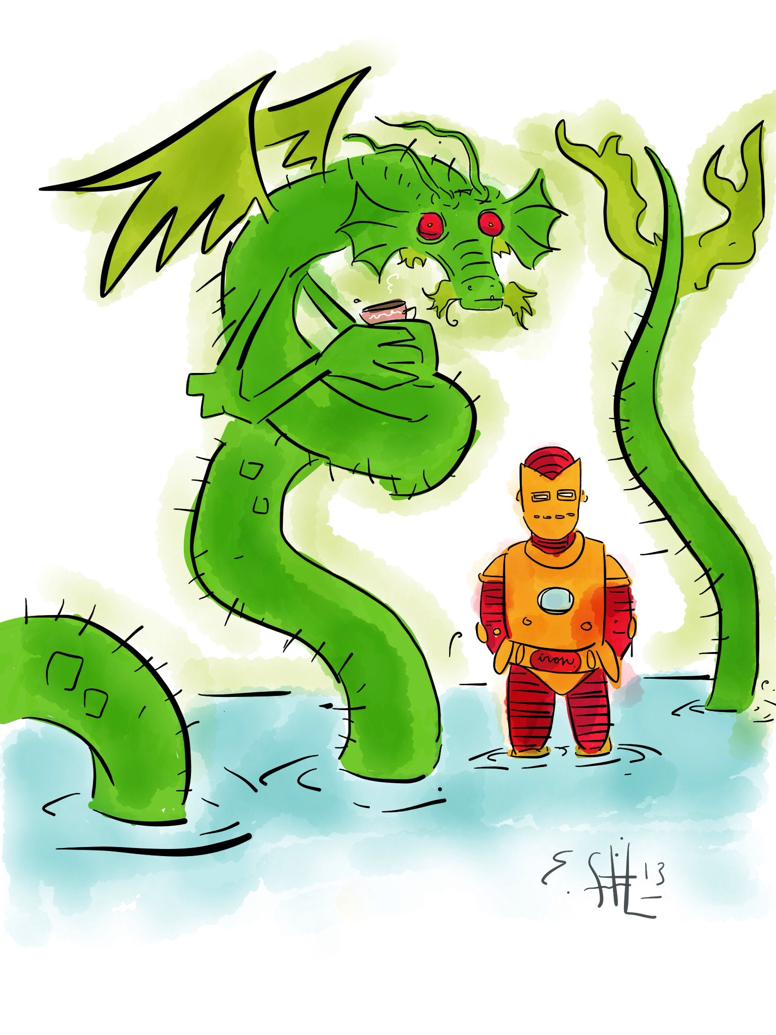 Iron Man and Fing Fang Foom with Tea