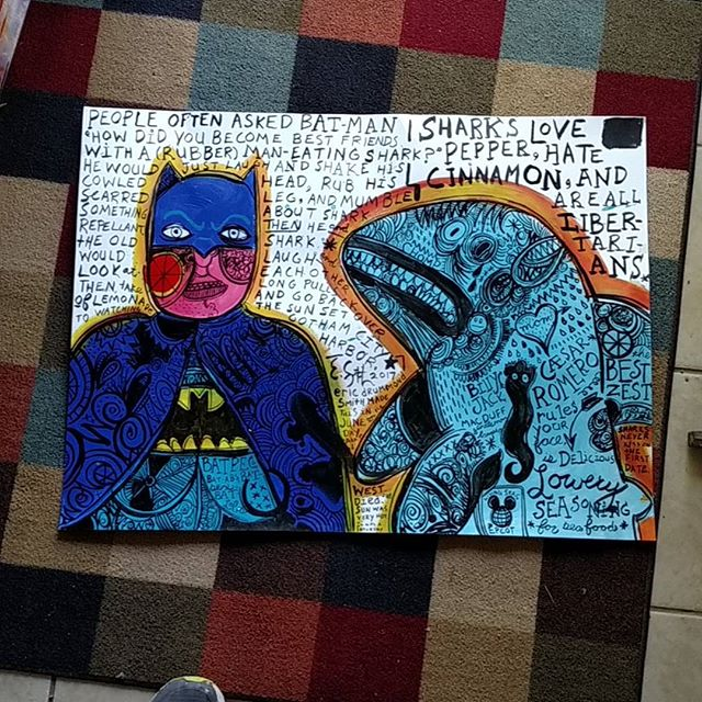 Batman and the Rubber Shark 2017 Acrylic on paper #neoexpressionism #lowbrowart #lowbrow #popsurrealism #popart #popfolkart #batman #shark #rubbershark #sharkrepellent #batspray #adamwest #ericdrummondsmith #bestfriends