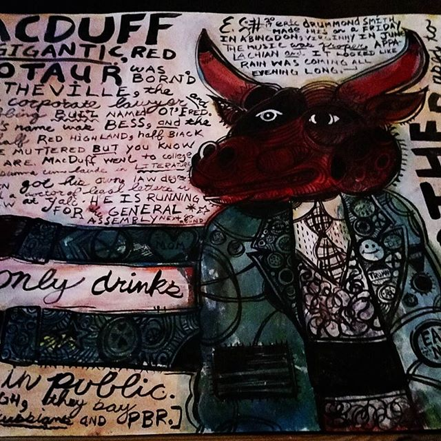 MacDuff the Gigantic, Red Minotaur 2017 Acrylic and ink on paper