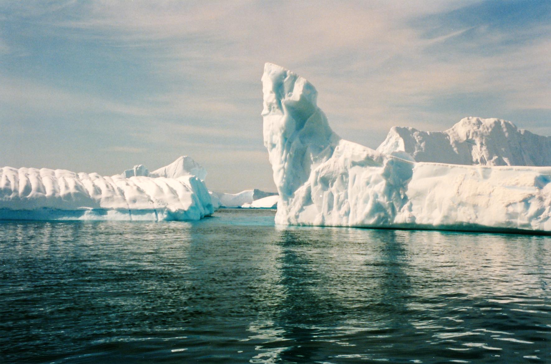 Towering icebergs