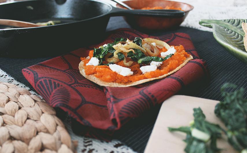 Caramelized Fennel, Sweet Potato & Goat Cheese Quesadillas with Lacinato Kale