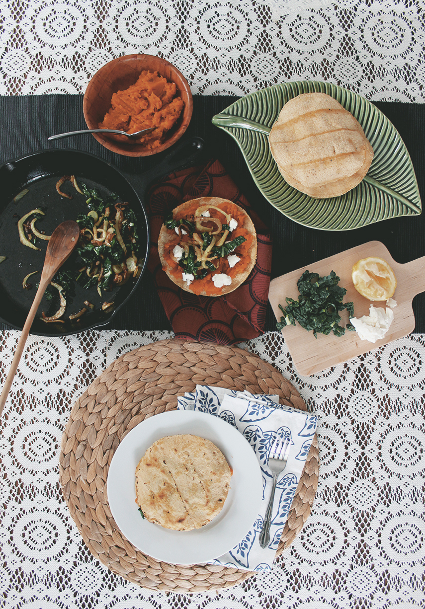 Caramelized Fennel, Sweet Potato & Goat Cheese Quesadillas with Lacinato Kale