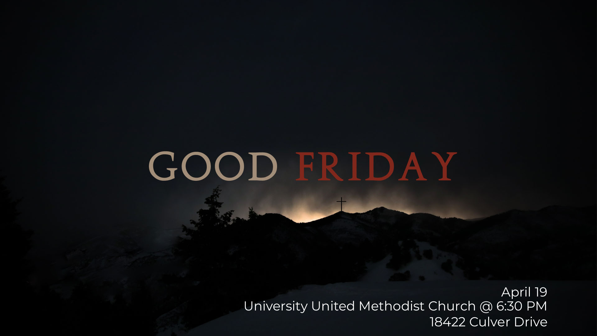 Come join us for Good Friday. Rides will be at 6pm @ The Flagpoles