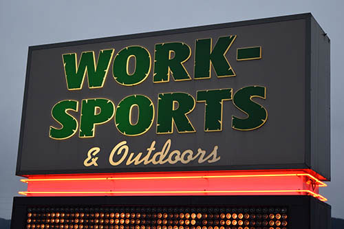 Work-Sports & Outdoors   840 Roosevelt Ave, Enumclaw, WA 98022   (360) 825-5533   Store Hours:   Monday - Friday 8am-8pm   Saturday 8am-7pm   Sunday 9am-6pm