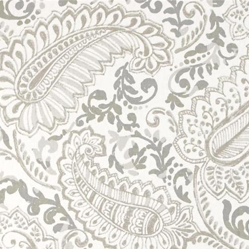 Ecru Paisley in White